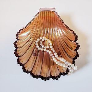 Glass Iridescent Clamshell Trinket Dish